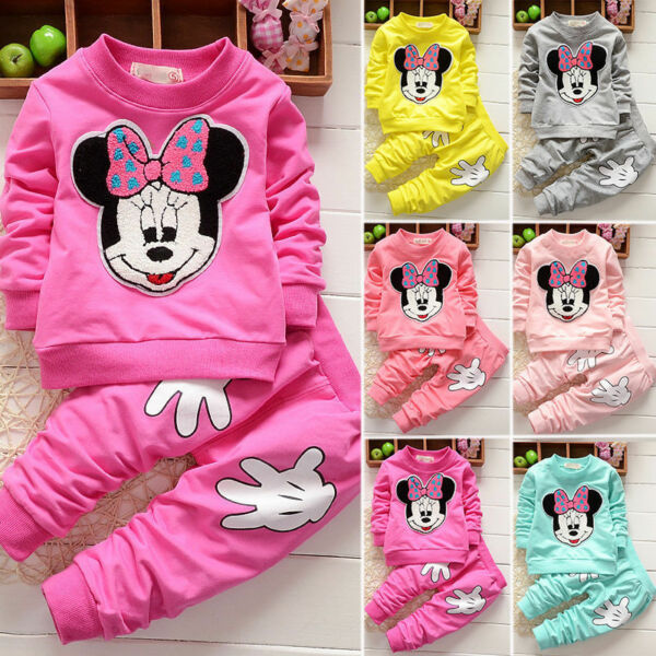 Baby Girl Minnie Mouse Long Sleeve Tops T shirt Pants 2Pcs Outfits Set Clothes $15.39