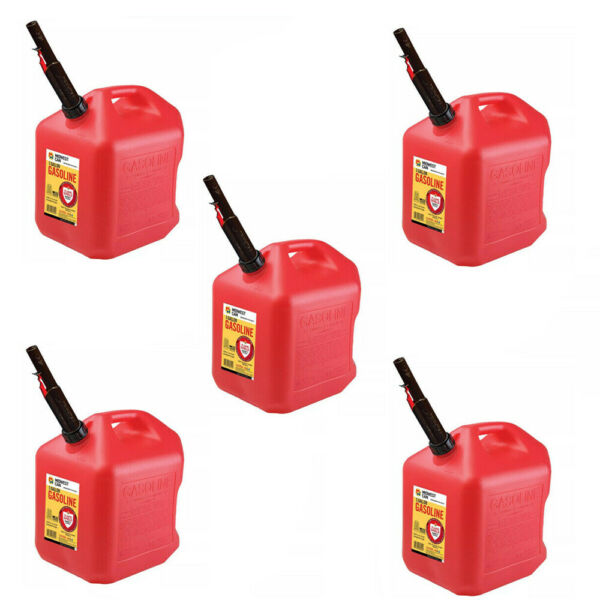 Gas Cans 5 Gallon each 5 Pack Plastic Will Not Corrode or Rust BRAND NEW $207.95