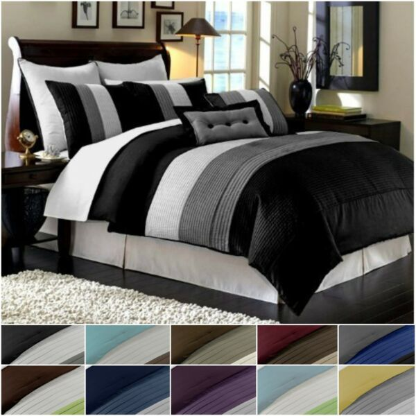 Chezmoi Collection Luxury Striped Pleated Comforter Bedding Set $62.99