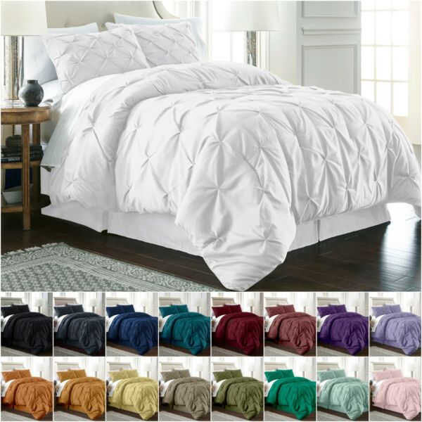 Chezmoi Collection Berlin Pinch Pleat Pintuck Bedding Comforter Set All Sizes