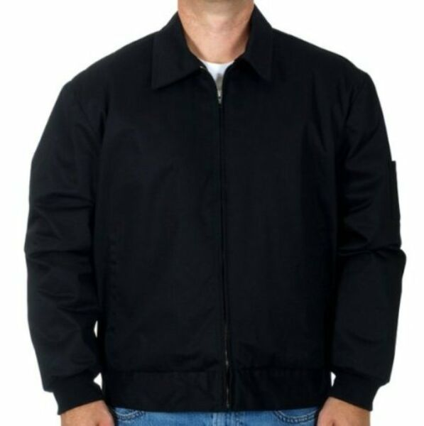 Mens Work Jacket Mechanic Style Zip Jacket Black JH Work Wear Brand New