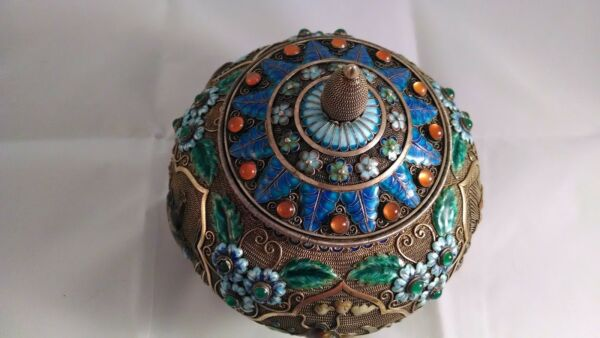 Chinese Silver and Enamel Tea Caddy Covered Vase or Crock Jar wJade Stones