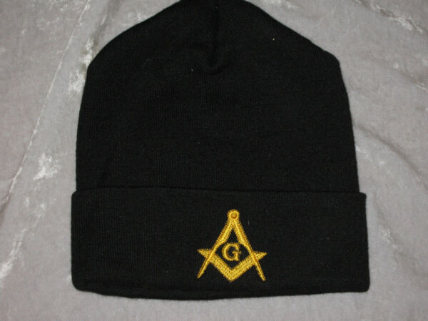 Masonic Square Compass Stocking Hat Knit Cap Black Embroidered Warm Winter NEW $12.69