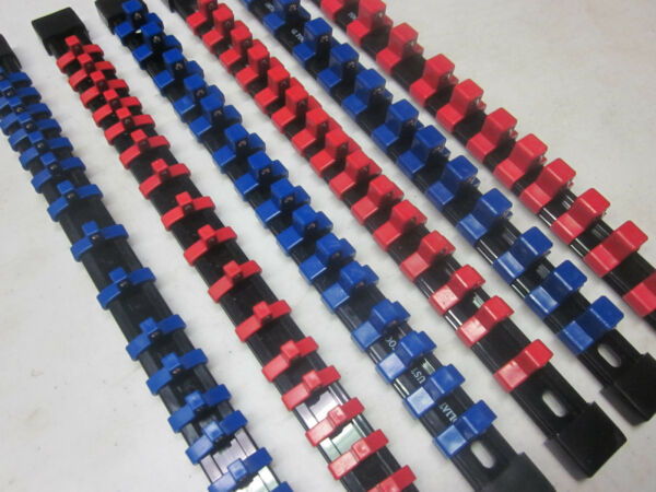 MOUNTABLE ABS ~ 6 ~ RED / BLUE SOCKET HOLDER RAIL RACK ORGANIZER TRAY BALL CLIP