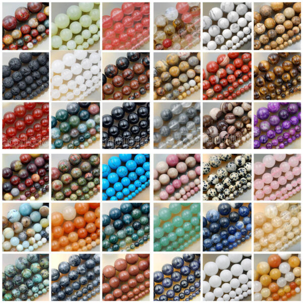 Natural Gemstone Smooth Round Loose Beads 15quot; 4mm 6mm 8mm 10mm 12mm $6.99