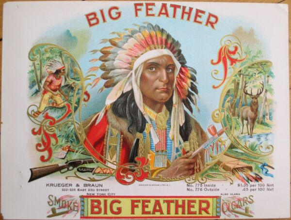 1900 'BIG FEATHER' Indian Chief Sample Cigar Box Label- Native American Western