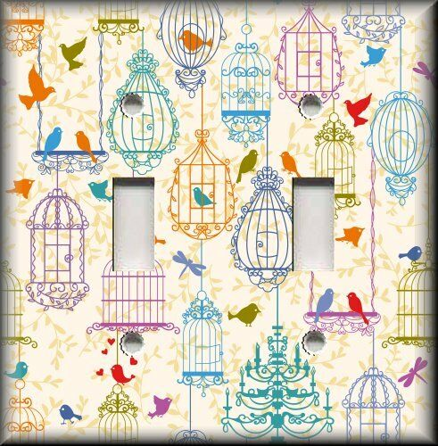 Metal Light Switch Plate Cover - Multi Colored Birds Cages Birds Home Decor
