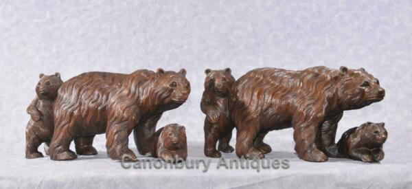 Pair Hand Carved Black Forest Bear Cub Family Statues Brown Bears