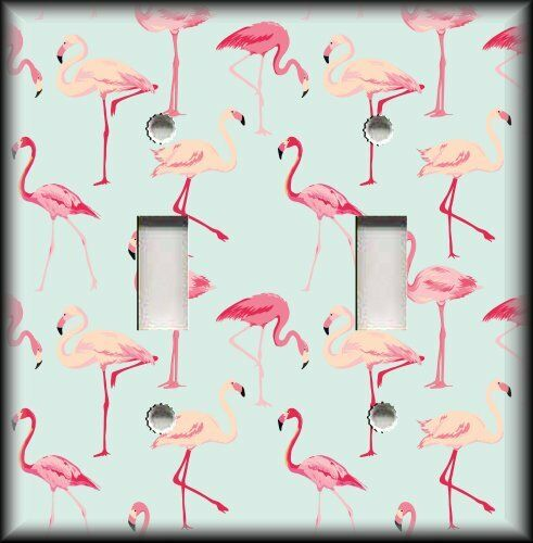 Metal Light Switch Plate Cover - Tropical Birds Home Decor Pink Flamingos Decor