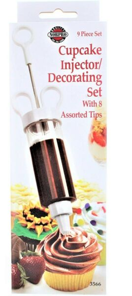 Norpro Cake Icing Decorating Set Frosting 8 Tips w Cupcake Filling Injector