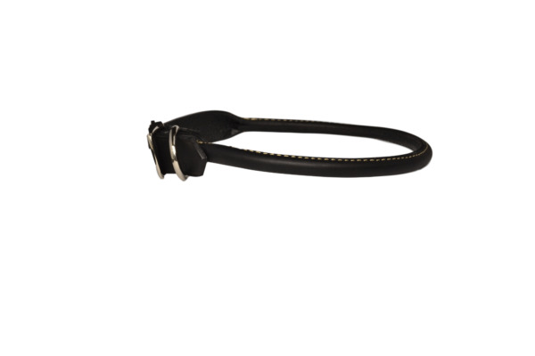 ROLLED LEATHER DOG COLLAR gt;BLACKlt; 24quot; NICKEL HARDWARE USA $14.99