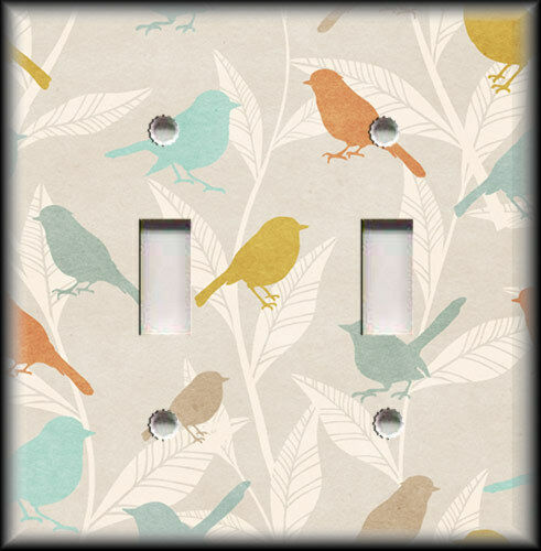 Metal Light Switch Plate Cover - Vintage Colors Birds Branches Home Decor Birds