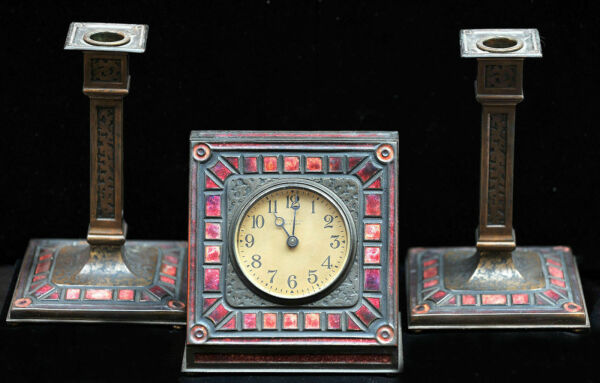 1920's Tiffany Furnace Clock with Candlesticks Bronze and Red Enamel Set Signed