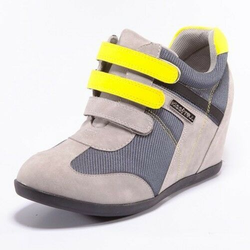 Gray Yellow High Top Lace Up Hook Strap Fashion Wedge Sneakers Celena-02