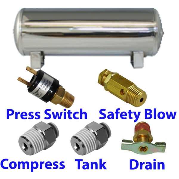 9 Gallon STAINLESS Air Tank 5-port train horn & air suspension WITH all fittings