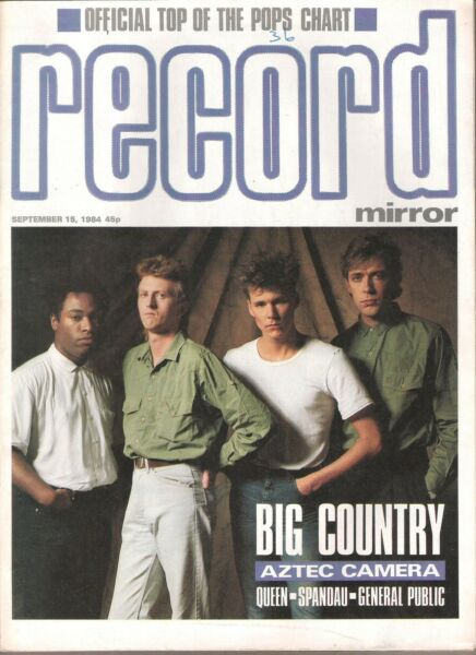 BIG COUNTRY cover and 2 pages UK Record Mirror magazine 1984 GBP 9.95