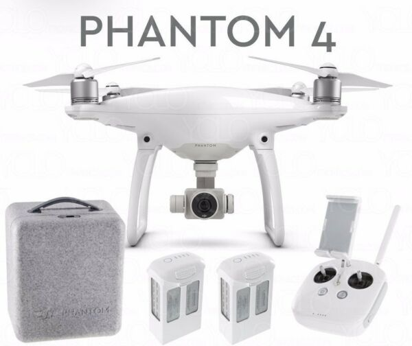 DJI Phantom 4 w/ 2 Batteries Drone Quadcopter 4K Camera Obstacle Avoid NEW !!