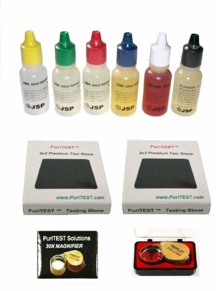 JEWELERS-PAWN-AUCTION-TESTING KIT-GOLD-SILVER+LOUPE + MORE TEST PADS