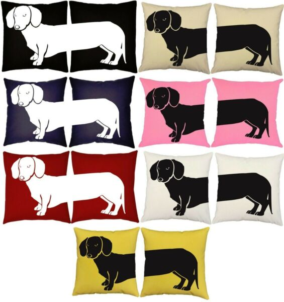 SET OF 2 RoomCraft Cotton Canvas Dachshund Throw Pillows Cushions USA Made* $35.99