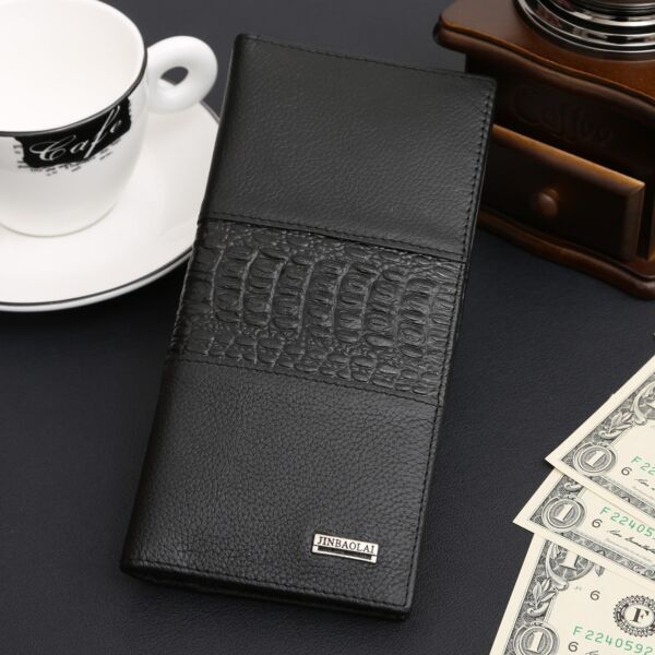 Mens Genuine Leather Long Bifold Wallet ID Card Purse Checkbook Clutch Billfold $12.97