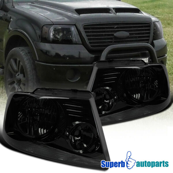 2004-2008 Ford F150 Crystal Headlights Lamps Smoke Pair