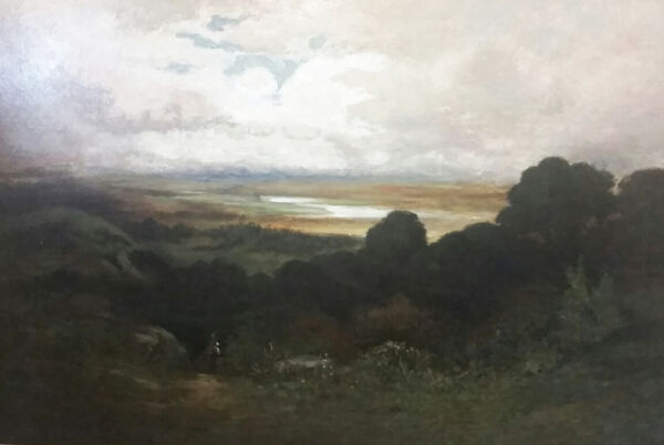 IMPORTANT WILLIAM STACY NOTED VT ARTIST SIGNED LAKE CHAMPLAIN OIL PAINTING