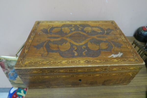 Antique Pyrography Wood Burning Hinged Box Chest Inlay Marquetry 1920s Hand made