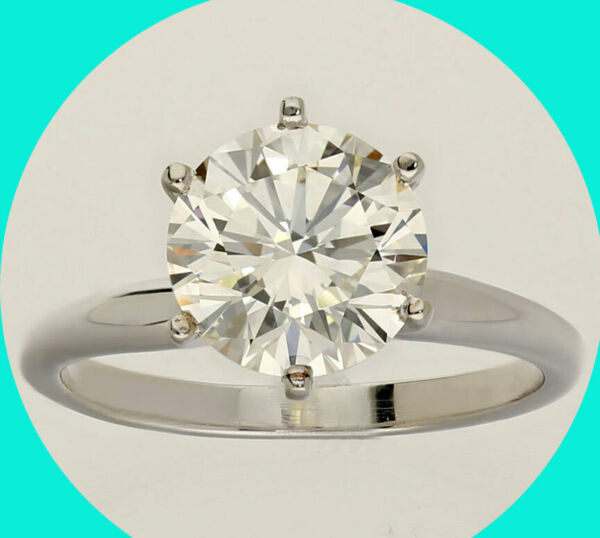 NEW EGL diamond engagement ring 14K wg solitaire premium round brilliant 2.21CTS