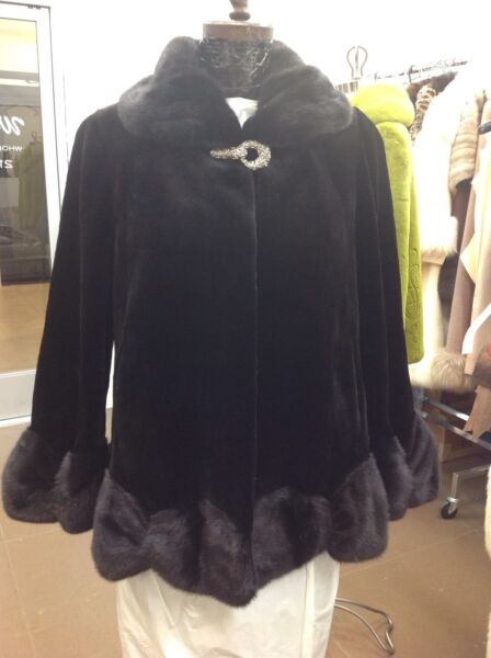 BLACK SHEARED MINK SWING JACKET COAT LONG HAIR MINK RUFFLE TRIM NEW HOT FASHION