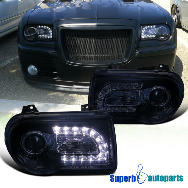 For 2005-2010 Chrysler 300C SMD LED DRL Smoke Projector Headlights Glossy Black