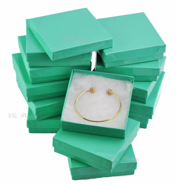 Teal Cotton Filled Jewelry Boxes Bracelet Gift Boxes Teal Bracelet Boxes ~ 12 PC