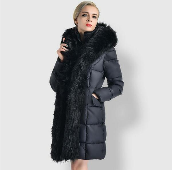 Womens fashion Luxury Real Fur Hooded Duck Down Winter Warm Parka Coat Jacket Sz