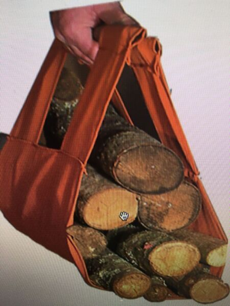 Log Tote Fireplace Holder Wood Firewood Canvas Carrier Fire Heat Caddy Carry Bag