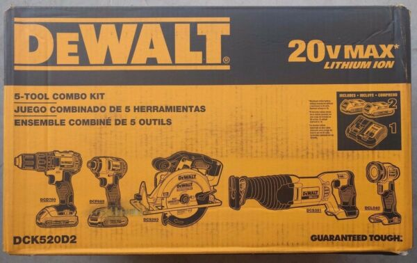 DEWALT DCK520D2 20V MAX Lithium-Ion 5-Tool Combo Kit Drill Impact - BRAND NEW !!