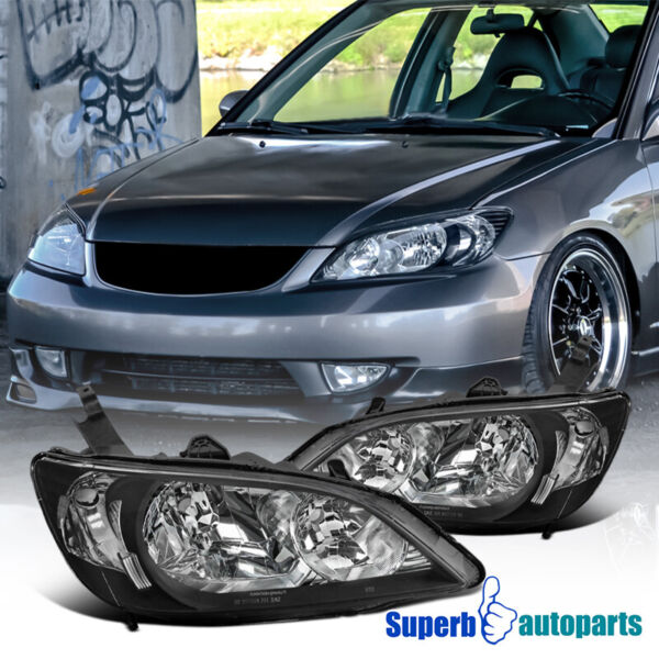 For 2004 2005 Honda Civic 2Dr 4Dr Diamond Headlights Lamps Black