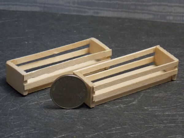 Dollhouse Miniature Wood Unfinished Crate Set of 2 A  1:12 One Inch Scale  F48A