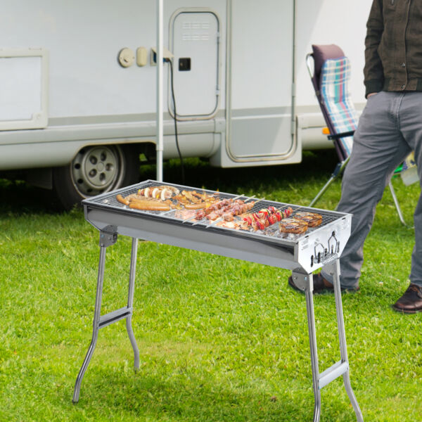 29quot; Fordable BBQ Charcoal Grill Stainless Steel Backyard Cooker Silver Party