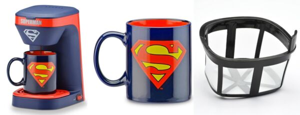 NIB DC Comics Superman Man of Steel Coffee Maker and 12 oz Coffee Mug Set Kalel