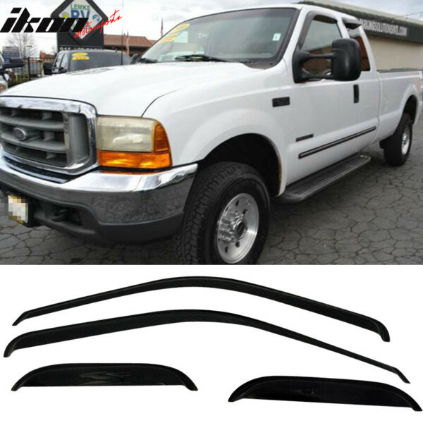 Fits 99-13 Ford F250 Super Duty Extended Cab Acrylic Window Visors 4Pc Set