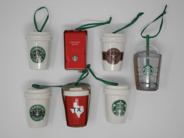 BRAND NEW 7 Pack 2016 Starbucks Christmas Holiday Ceramic Ornaments TEXAS State