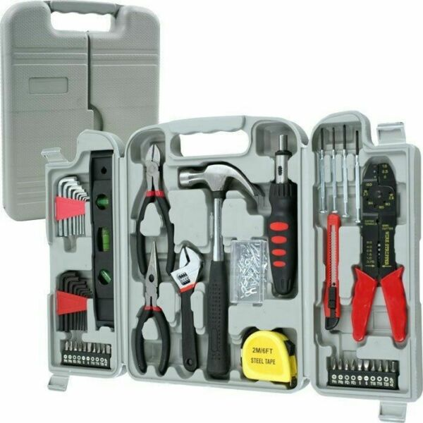 130 Pc Household Hand Tool Set Hammer Pliers Screwdriver Nail Level Garage Home