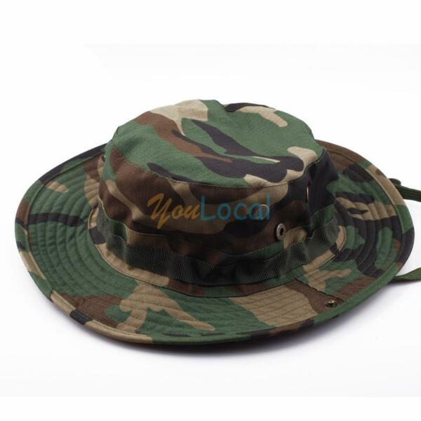 Camouflage Boonie Hat Hiking Army Sun Block Outdoor Hat Cap Tactical Military US