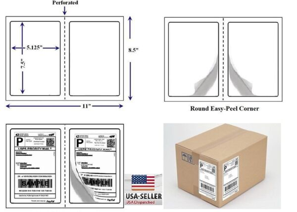 Perforated 1000 Quality Round Corner Shipping Labels 2 Per Sheet 7.5