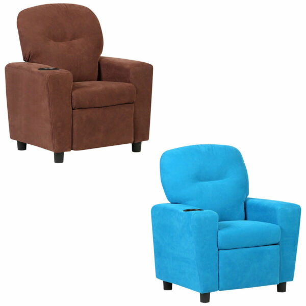 Kids Recliner Armchair Children's Furniture Sofa Seat Couch Chair w/Cup Holder