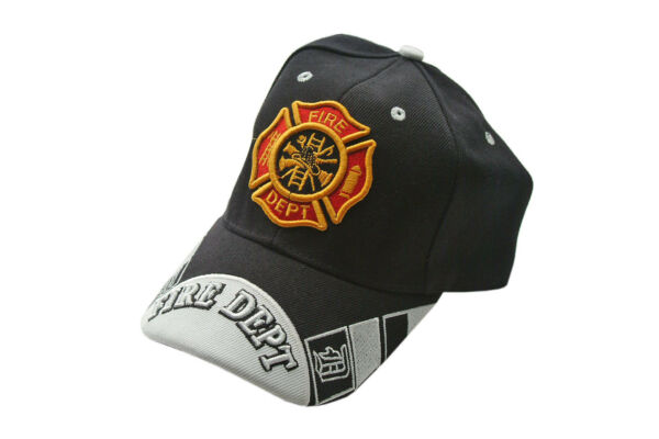 Black Fire Department Firefighter Baseball Cap Hat One Size Fits All
