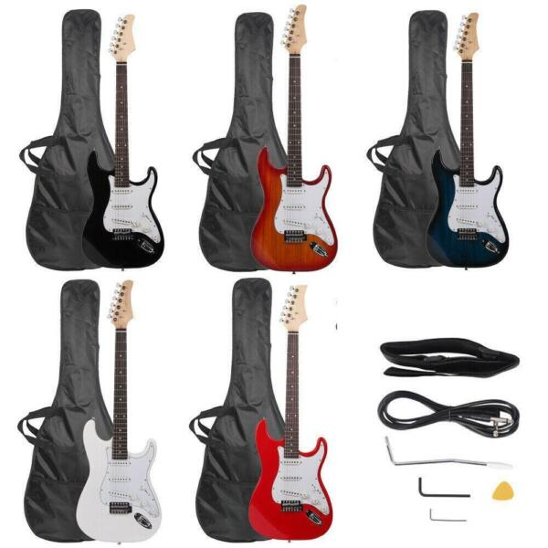 39.37quot; Beginner Sunset Electric Guitar Bag Case Cable Strap Picks 7 Color $59.98