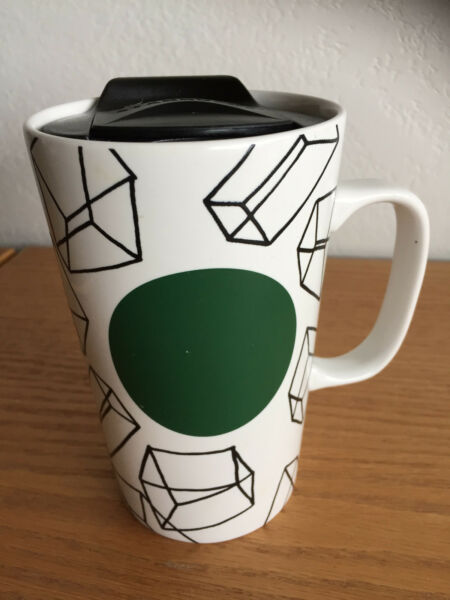 Starbucks  Ceramic Travel Coffee Mug  Black White  Geometric  16 fl oz  5 38