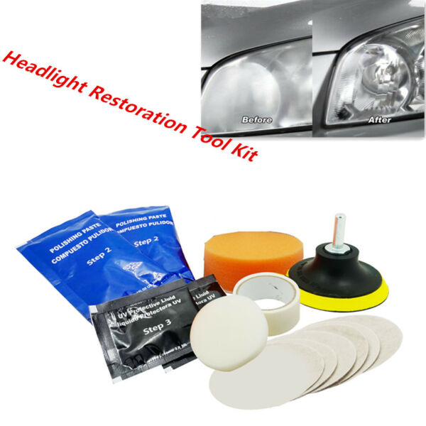 Car Headlight Tool Kit Restoration Headlamp Clean Plastic Restore Lens Polishing