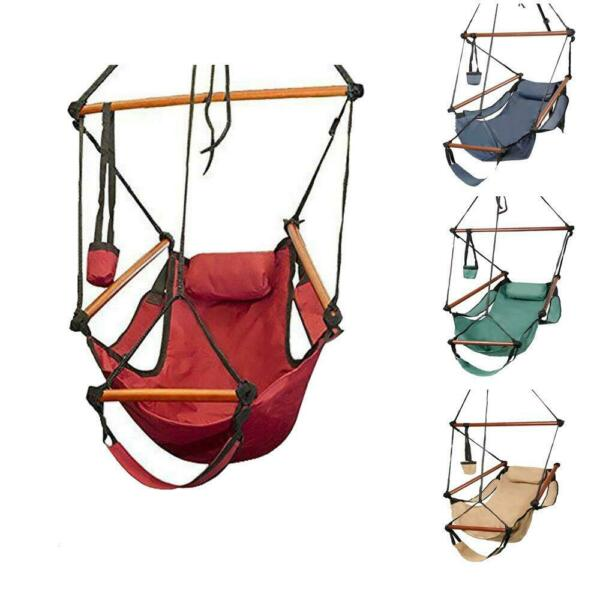 Hammock Hanging Chair Air Deluxe Outdoor Chair Solid Wood 250lb 4 Color July 4th $32.99