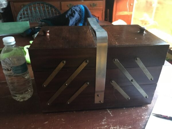 Vintage Sewing Box M&s Bestmade Chicago Fold up Rare Wood Intact Antiques Obo